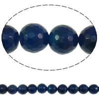 Natural Blue Agate Beads, Round, faceted, 12mm, Hole:Approx 1mm, Approx 32PCs/Strand, Sold Per Approx 15.3 Inch Strand