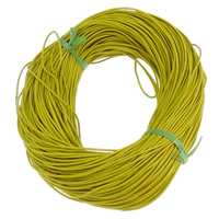 Cowhide Cord, yellow, nickel, lead & cadmium free, 1.5mm, Length:100 Yard, Sold By Bag