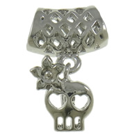 Zinc Alloy Skull Pendants, platinum color plated, nickel, lead & cadmium free, 14x24x6mm, Hole:Approx 3x6mm, 50PCs/Bag, Sold By Bag