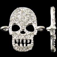 Złącze ze stopu cynku czaszki, Stop cynku, Czaszka, Platerowane w kolorze srebra, z kamieniem & kółko1/1, bez zawartości niklu, ołowiu i kadmu, 21x21x3mm, otwór:około 2mm, 50komputery/torba, sprzedane przez torba