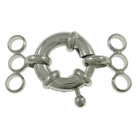 Brass Spring Ring Clasp, platinum color plated, 3-strand, nickel, lead & cadmium free, 15x28x6mm, Hole:Approx 3mm, 50PCs/Bag, Sold By Bag