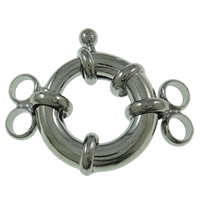 Brass Spring Ring Clasp, platinum color plated, 2-strand, nickel, lead & cadmium free, 17x28x6mm, Hole:Approx 3mm, 50PCs/Bag, Sold By Bag