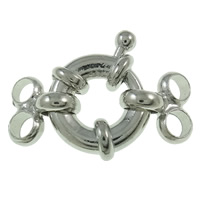 Brass Spring Ring Clasp platinum color plated 2-strand nickel lead   cadmium free 14x22x5mm Hole:Approx 3mm 50PCs/Bag