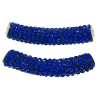 Rhinestone Brass Beads, Rhinestone Clay Pave, with Brass, Tube, platinum color plated, with rhinestone, dark blue, nickel, lead & cadmium free, 10x48mm, Hole:Approx 4mm, 10PCs/Bag, Sold By Bag