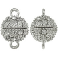 Zinc Alloy Magnetic Clasp, Round, antique silver color plated, with rhinestone & single-strand, nickel, lead & cadmium free, 14x20.5mm, Hole:Approx 2.5mm, 20Sets/Bag, Sold By Bag