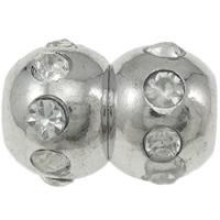 Zapięcie magnetyczne ze stopów cynku, Stop cynku, Tykwa, Platerowane w kolorze platyny, z kamieniem, bez zawartości niklu, ołowiu i kadmu, 12x17mm, otwór:około 4.5mm, 20zestawy/torba, sprzedane przez torba