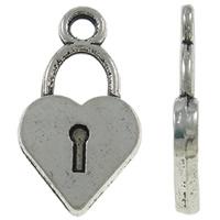 Sinkkiseos Lock riipukset, Lukko, antiikki hopea päällystetty, nikkeli, lyijy ja kadmium vapaa, 10x18x2mm, Reikä:N. 2mm, N. 905PC/KG, Myymät KG