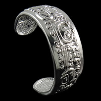 Zinc Alloy Cuff Bangle, silver color plated, nickel, lead & cadmium free, 60x53x20mm, Length:Approx 6 Inch, Sold By PC