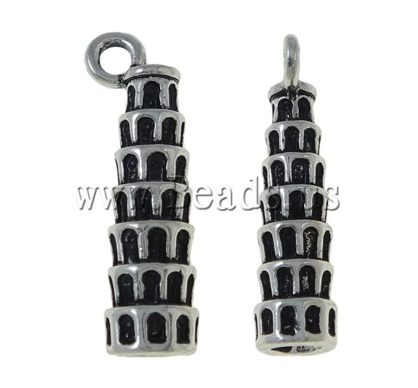 Buy Zinc Alloy Building Pendants Tower antique silver color plated nickel lead & cadmium free 9x26mm Hole:Approx 2.5mm 1 Sold Lot