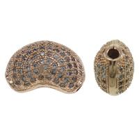 Cyrkoniami Koraliki mosiężne mikro Brukuje, Mosiądz, Fasolka, Platerowane kolorem rożowego złota, mikro utorować cyrkonia, bez zawartości niklu, ołowiu i kadmu, 14x9x7mm, otwór:około 1.5mm, sprzedane przez PC