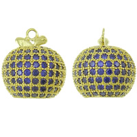 Cubic Zirconia Micro Pave Brass Pendant, Apple, gold color plated, micro pave cubic zirconia, nickel, lead & cadmium free, 15x16x15mm, Hole:Approx 2mm, Sold By PC