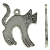 Zinc Alloy Animal Pendants, Cat, antique silver color plated, nickel, lead & cadmium free, 21x25x1mm, Hole:Approx 2mm, Approx 500PCs/KG, Sold By KG