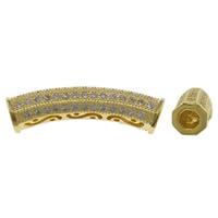 Cyrkoniami Koraliki mosiężne mikro Brukuje, Mosiądz, zakrzywione Tube, Platerowane w kolorze złota, mikro utorować cyrkonia & pusty, bez zawartości niklu, ołowiu i kadmu, 30x6.5mm, otwór:około 3.5mm, sprzedane przez PC