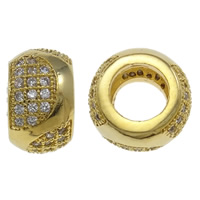 Zirkoon Micro Pave Brass European Kralen, Messing, Rondelle, gold plated, micro pave zirconia, nikkel, lood en cadmium vrij, 10X6.5mm, Gat:Ca 5mm, Verkocht door PC