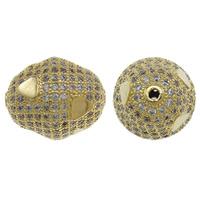 Cyrkoniami Koraliki mosiężne mikro Brukuje, Mosiądz, Owal, Platerowane w kolorze złota, mikro utorować cyrkonia, bez zawartości niklu, ołowiu i kadmu, 16x20mm, otwór:około 1.5mm, sprzedane przez PC