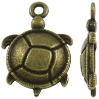 Zinc Alloy Animal Pendants, Turtle, antique bronze color plated, nickel, lead & cadmium free, 15x22x3mm, Hole:Approx 1.5mm, Approx 830PCs/KG, Sold By KG