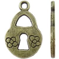 Sinkkiseos Lock riipukset, Lukko, antiikki pronssi väri päällystetty, kukkakuvio, nikkeli, lyijy ja kadmium vapaa, 10x16x1mm, Reikä:N. 1.5mm, N. 2500PC/KG, Myymät KG