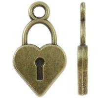 Sinkkiseos Lock riipukset, Lukko, antiikki pronssi väri päällystetty, nikkeli, lyijy ja kadmium vapaa, 10x19x2mm, Reikä:N. 2mm, N. 1000PC/KG, Myymät KG