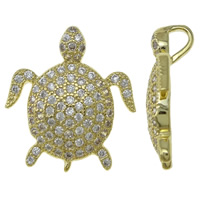 Cubic Zirconia Micro Pave Brass Pendant, Turtle, gold color plated, micro pave cubic zirconia, nickel, lead & cadmium free, 14x18x5.50mm, Hole:Approx 3.5mm, Sold By PC