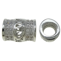 Koperen pijp Beads, Messing, Buis, platinum plated, micro pave zirconia & hol, nikkel, lood en cadmium vrij, 8x10mm, Gat:Ca 4.5mm, Verkocht door PC
