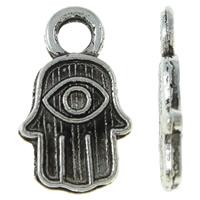 Zinklegering Hamsa Hangers, Zinc Alloy, Evil Hamsa Eye, antiek zilver plated, Joodse Jewelry & Islam sieraden, nikkel, lood en cadmium vrij, 8x13x1.50mm, Gat:Ca 2.5mm, Ca 2000pC's/KG, Verkocht door KG