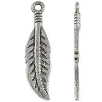 Sinkkiseos Feather riipukset, Sulka, antiikki hopea päällystetty, nikkeli, lyijy ja kadmium vapaa, 8x30.50x1.50mm, Reikä:N. 2mm, N. 765PC/KG, Myymät KG