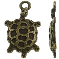 Zinc Alloy Animal Pendants, Turtle, antique bronze color plated, nickel, lead & cadmium free, 14x24x2.50mm, Hole:Approx 2mm, Approx 830PCs/KG, Sold By KG