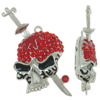 Zinc Alloy Skull Pendants, platinum color plated, enamel & with rhinestone & hollow, lead & cadmium free, 39x66x17mm, Hole:Approx 3mm, 10PCs/Bag, Sold By Bag