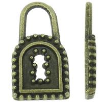 Sinkkiseos Lock riipukset, Lukko, antiikki pronssi väri päällystetty, nikkeli, lyijy ja kadmium vapaa, 8x15x2mm, Reikä:N. 3x4mm, N. 2500PC/KG, Myymät KG