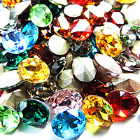 Crystal Cabochons, Oval, silver color plated, faceted, mixed colors, 6x8mm, 720PCs/Bag, Sold By Bag