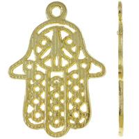 Zinklegering Hamsa Hangers, Zinc Alloy, heldere gouden kleur vergulde, Joodse Jewelry & Islam sieraden, nikkel, lood en cadmium vrij, 21x29x1mm, Gat:Ca 1.5mm, Ca 555pC's/KG, Verkocht door KG