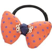 Ponytail Holder, Polyester, with Grosgrain Ribbon & Rubber, Bowknot, with round spot pattern, orange, 70mm, 40PCs/Lot, Sold By Lot