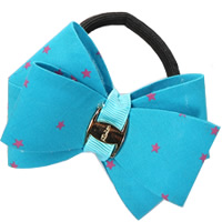 Ponytail Holder, Polyester, with Grosgrain Ribbon & Rubber & Copper Coated Plastic, Bowknot, with star pattern, blue, 80mm, 30PCs/Lot, Sold By Lot