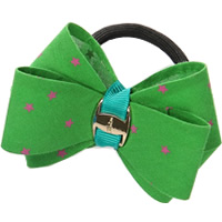Ponytail Holder, Polyester, with Grosgrain Ribbon & Rubber & Copper Coated Plastic, Bowknot, with star pattern, green, 80mm, 30PCs/Lot, Sold By Lot