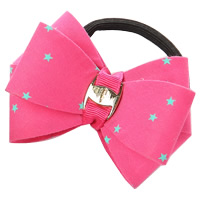 Ponytail Holder, Polyester, with Grosgrain Ribbon & Rubber & Copper Coated Plastic, Bowknot, with star pattern, rose pink, 80mm, 30PCs/Lot, Sold By Lot
