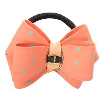 Ponytail Holder, Polyester, with Grosgrain Ribbon & Rubber & Copper Coated Plastic, Bowknot, with star pattern, reddish orange, 80mm, 30PCs/Lot, Sold By Lot