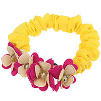 Hair Elastic, Polyester, with Crystal, Flower, yellow, 70mm, 10PCs/Lot, Sold By Lot