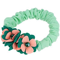 Hair Elastic, Polyester, with Crystal, Flower, light green, 70mm, 10PCs/Lot, Sold By Lot