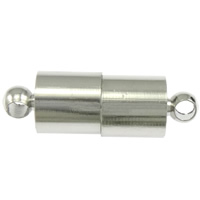 Brass Magnetic Clasp Column platinum color plated single-strand nickel lead   cadmium free 12.50x6mm Hole:Approx 2mm 100PCs/Bag