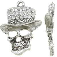 Zinc Alloy Skull Pendants, antique silver color plated, with rhinestone, lead & cadmium free, 43.50x60x8.50mm, Hole:Approx 4.5mm, 10PCs/Bag, Sold By Bag