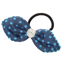 Ponytail Holder, Polyester, with Rubber & Plastic Pearl, Bowknot, with round spot pattern, blue, 130mm, 35PCs/Lot, Sold By Lot