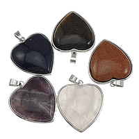 Gemstone Pendants Jewelry, Zinc Alloy, with Gemstone, platinum color plated, mixed, nickel, lead & cadmium free, 32.50x37x8mm, Hole:Approx 4x7mm, 10PCs/Lot, Sold By Lot