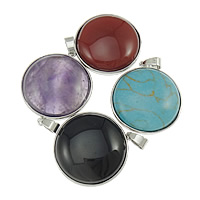 Gemstone Pendants Jewelry, Zinc Alloy, with Mixed Material, platinum color plated, mixed, nickel, lead & cadmium free, 30x33x8mm, Hole:Approx 4x6mm, 20PCs/Lot, Sold By Lot