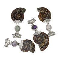 Gemstone Pendants Jewelry, Zinc Alloy, with Ammolite, platinum color plated, mixed & hollow, nickel, lead & cadmium free, 27-30x61-67x7-8mm, Hole:Approx 4x5mm, 10PCs/Lot, Sold By Lot