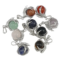 Gemstone Pendants Jewelry, Zinc Alloy, with Mixed Material, platinum color plated, mixed, nickel, lead & cadmium free, 24x32x19mm, Hole:Approx 5x10mm, 20PCs/Lot, Sold By Lot