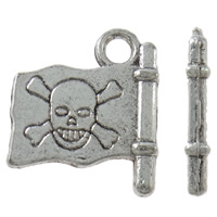Zinc Alloy Pendants, Flag, antique silver color plated, with skull pattern, nickel, lead & cadmium free, 14x16x2mm, Hole:Approx 2mm, Approx 830PCs/KG, Sold By KG