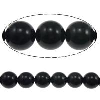 Musta Obsidian Helmet, Pyöreä, luonnollinen, 6mm, Reikä:N. 0.8mm, Pituus:N. 15 tuuma, 5säikeet/erä, N. 60PC/Strand, Myymät erä