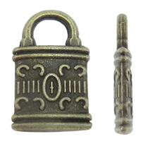 Sinkkiseos Lock riipukset, Lukko, antiikki pronssi väri päällystetty, nikkeli, lyijy ja kadmium vapaa, 8x13x2mm, Reikä:N. 3x3mm, N. 1660PC/KG, Myymät KG