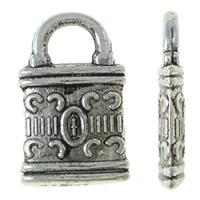 Sinkkiseos Lock riipukset, Lukko, antiikki hopea päällystetty, nikkeli, lyijy ja kadmium vapaa, 7.50x12.50x1.50mm, Reikä:N. 3mm, N. 2500PC/KG, Myymät KG