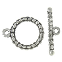 Zinc Alloy Toggle Clasp, Donut, antique silver color plated, single-strand, nickel, lead & cadmium free, 18x22x3mm, 26x7x3mm, Hole:Approx 1.5mm, Approx 470Sets/KG, Sold By KG